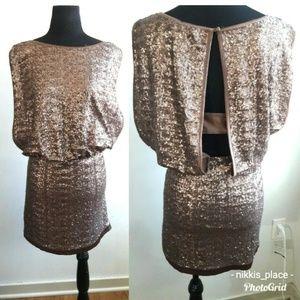 Laundry Bronze Sequin Blouson Dress Size 12 (NL)